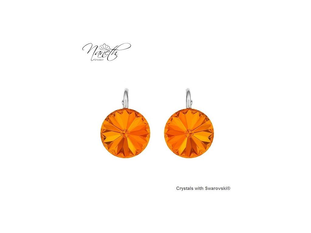 Strieborné náušnice Naneth Rivoli oranžové s kryštálmi Swarovski Tangerine 12 mm