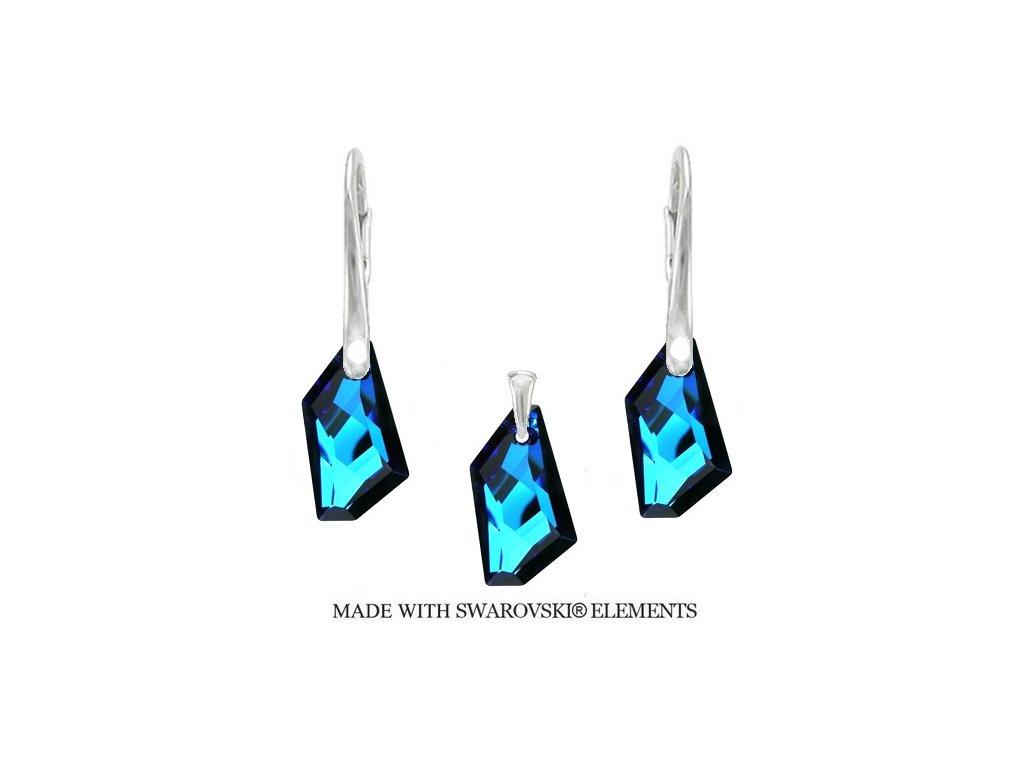 Strieborný set DE-ART s kryštálmi Swarovski® Bermuda Blue
