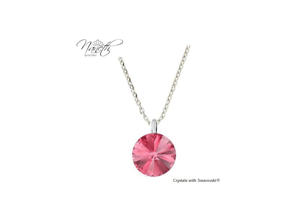 Strieborný náhrdelník Naneth s ružovým kryštálom Swarovski Rose 12 mm