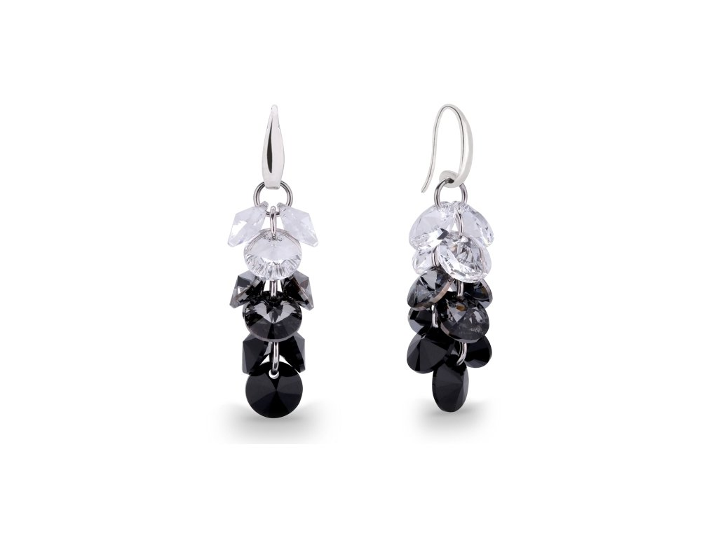 Náušnice Dives s kryštálmi Swarovski® Crystal Silver Night