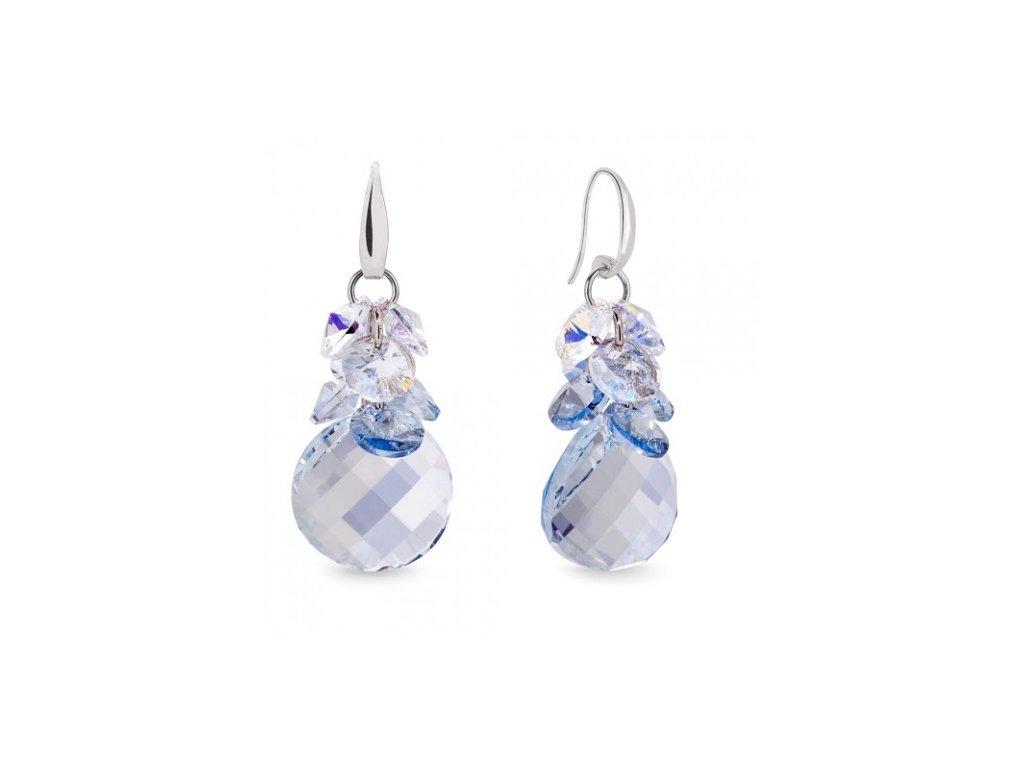 Náušnice Luna Dives s kryštálmi Swarovski Elements Blue Shade