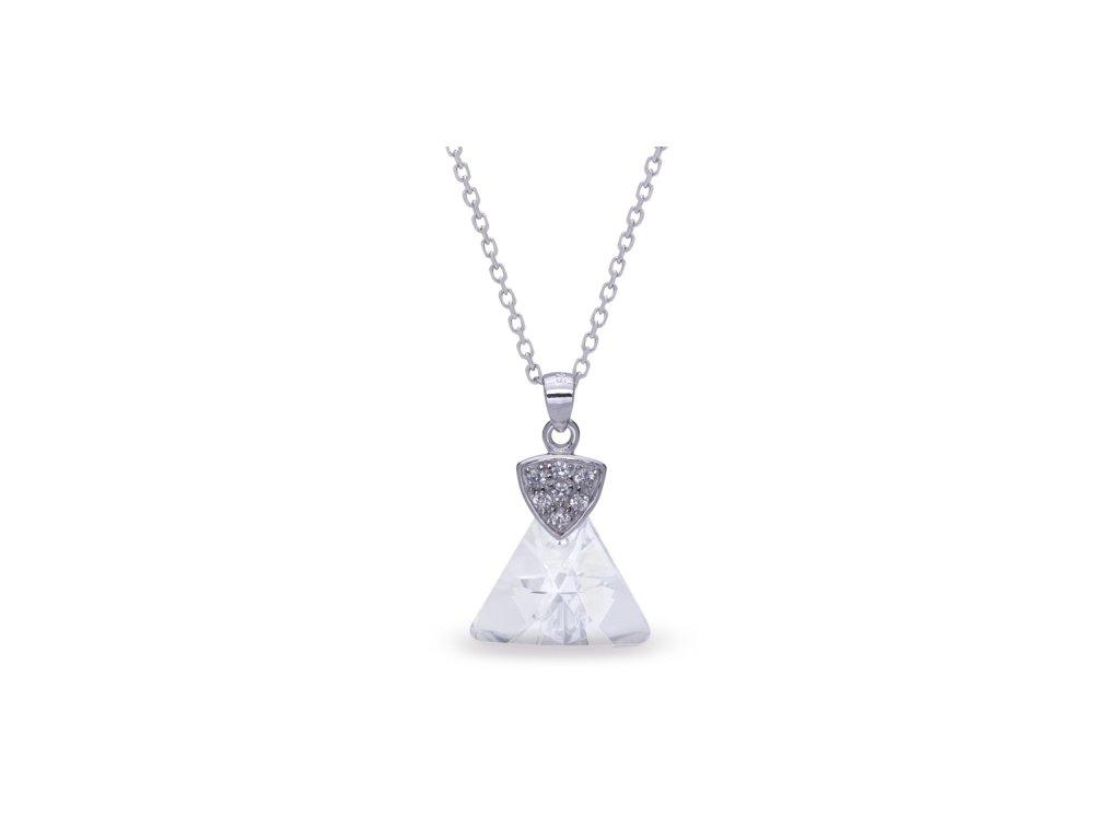 Náhrdelník Triangolo Swarovski® Crystal biely