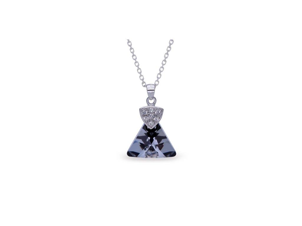 Náhrdelník Triangolo Swarovski Elements Silver Night