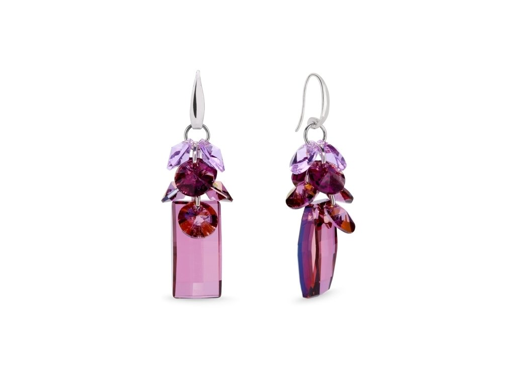 Náušnice Neka Dives s kryštálmi Swarovski Elements Lilac Shadow