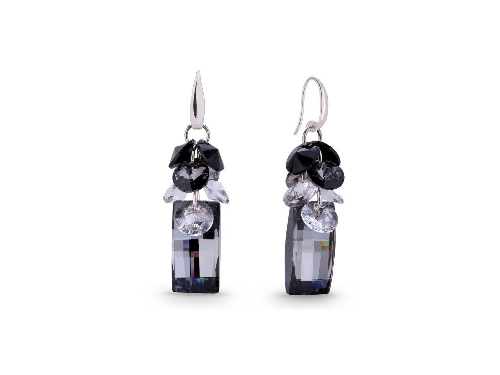 Náušnice Neka Dives s kryštálmi Swarovski Elements Silver Night