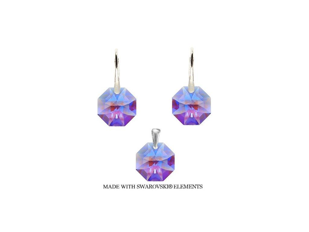 Set Octagon Swarovski Elements Violet Blue