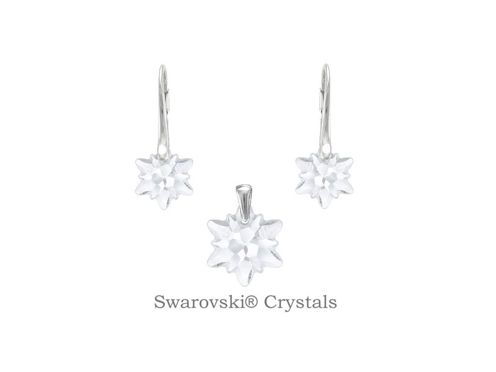 Strieborný set EDELWEISS Swarovski Elements White Opal
