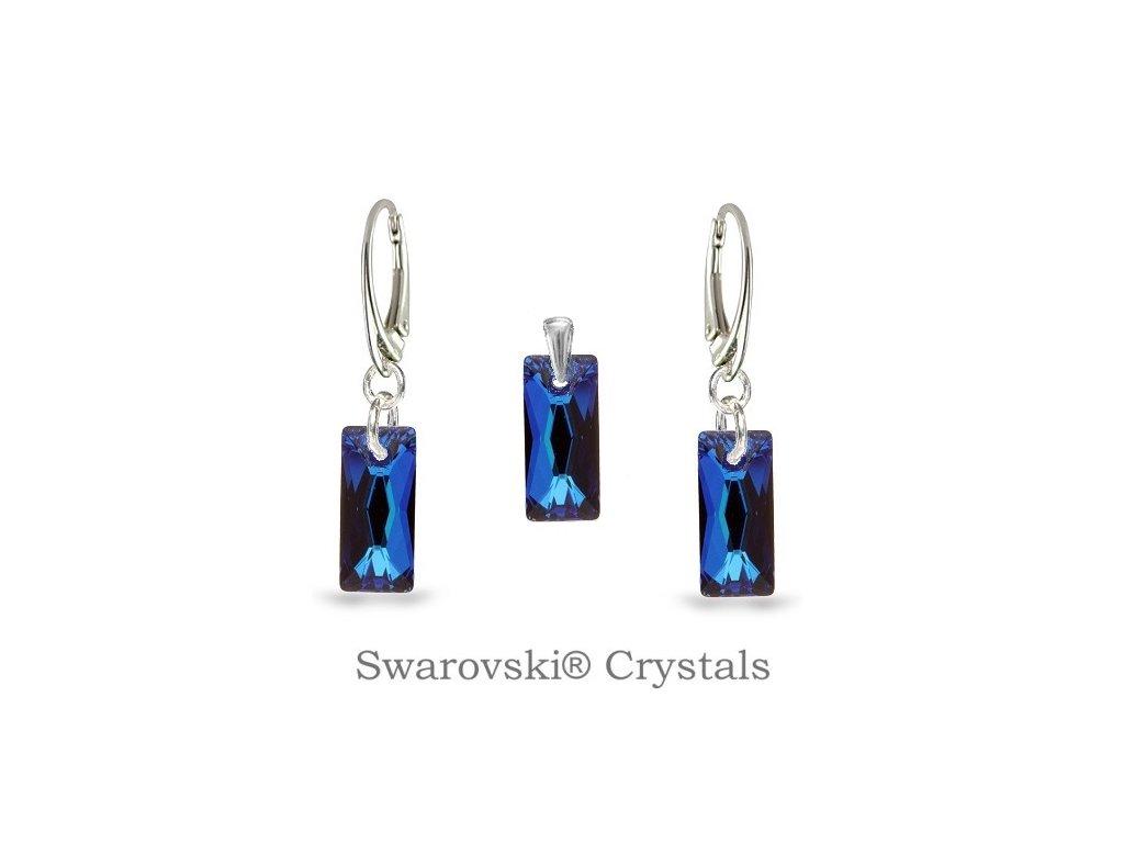 exkluzívny modrý set swarovski baguette bermuda blue