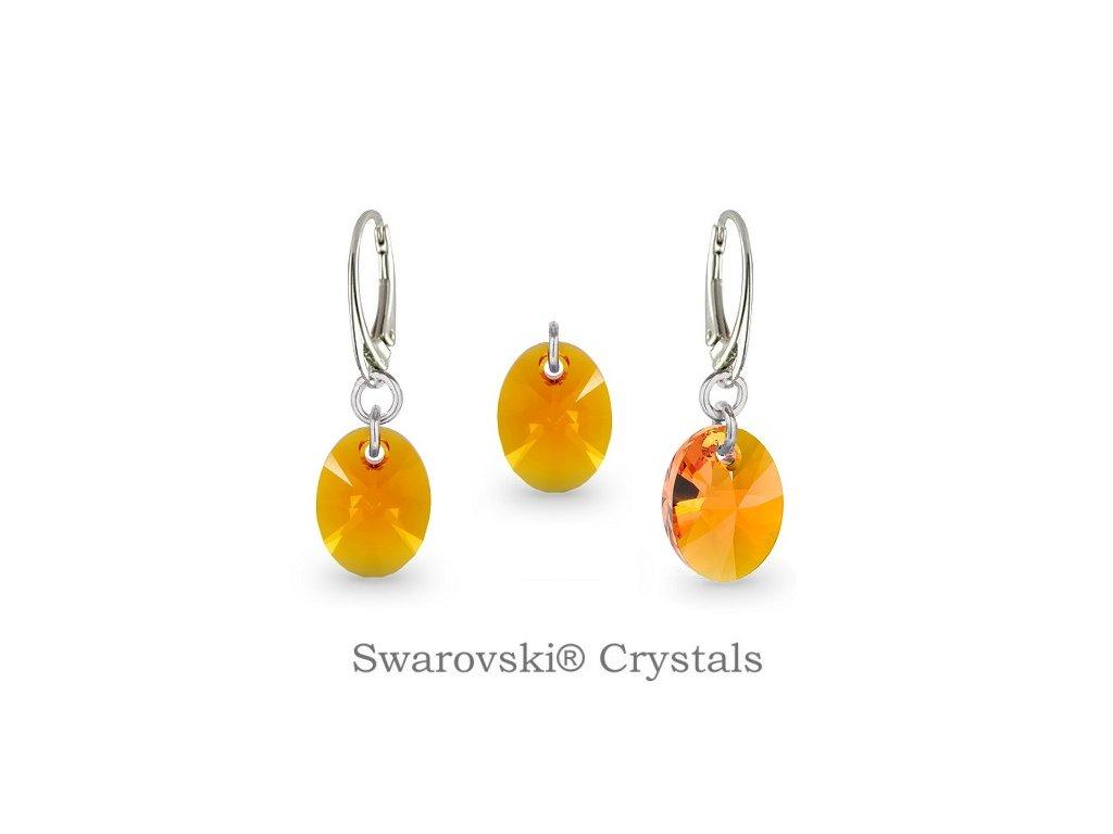 Strieborný set Naneth s kryštálmi Swarovski® Oval Tangerine 12 mm