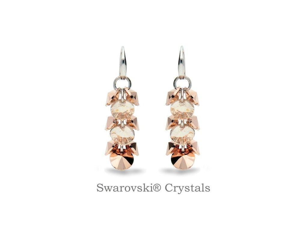 Náušnice Dives s kryštálmi Swarovski® Rose Gold - Silk