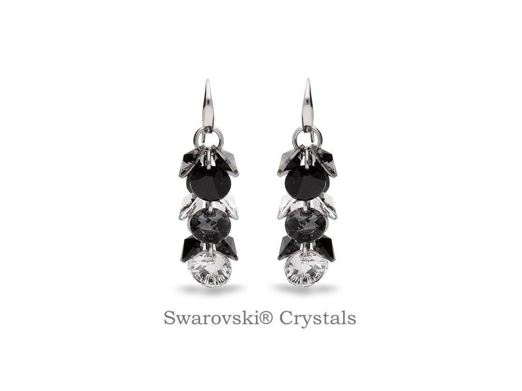 Náušnice Dives s kryštálmi Swarovski® Jet - Crystal - SN