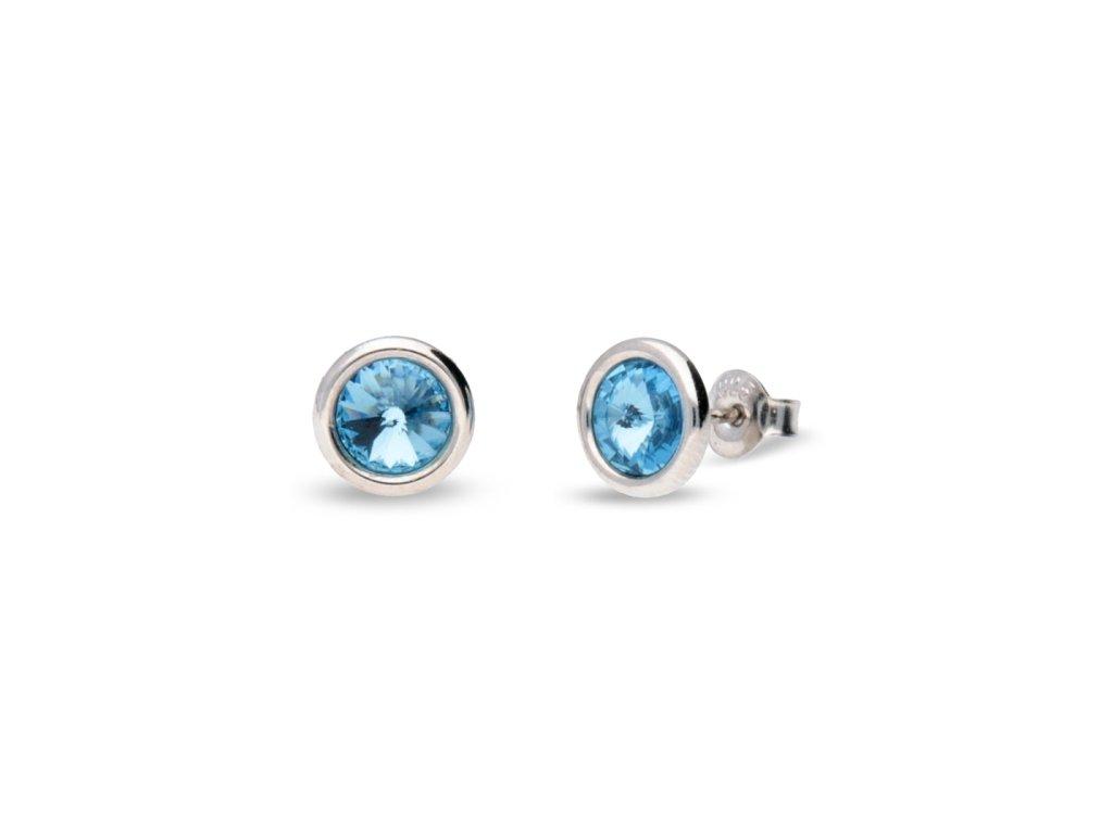 Puzetové náušnice s kryštálmi Swarovski®Crystals modré Aquamarine