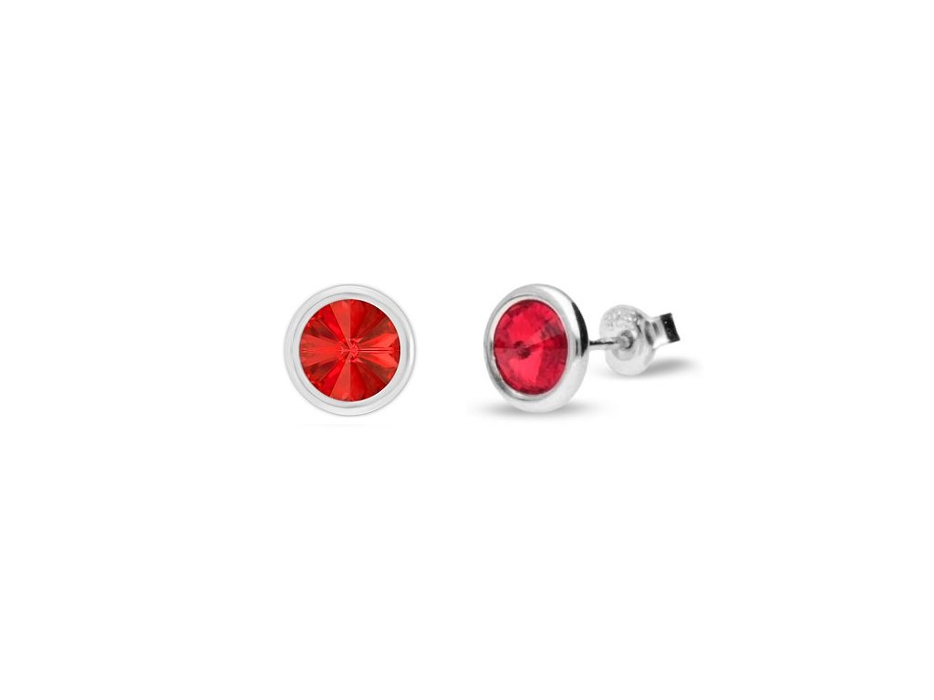 Puzetové náušnice s kryštálmi Swarovski®Crystals červené Light Siam