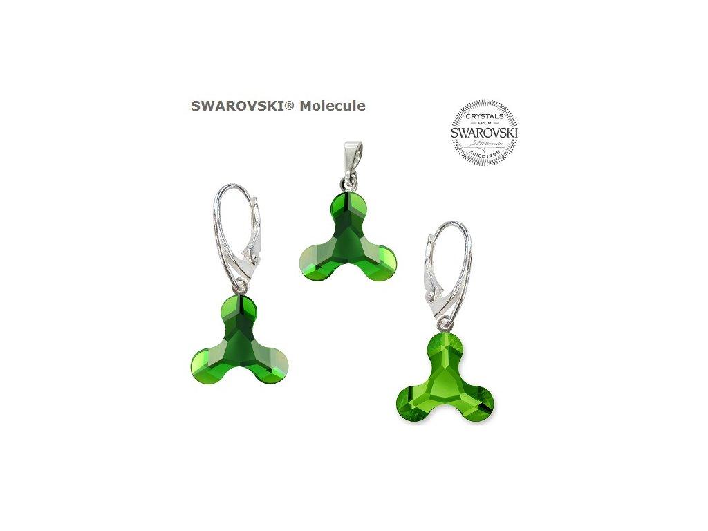 Set s kryštálmi MOLECULE Swarovski®Crystals Dark Moss Green