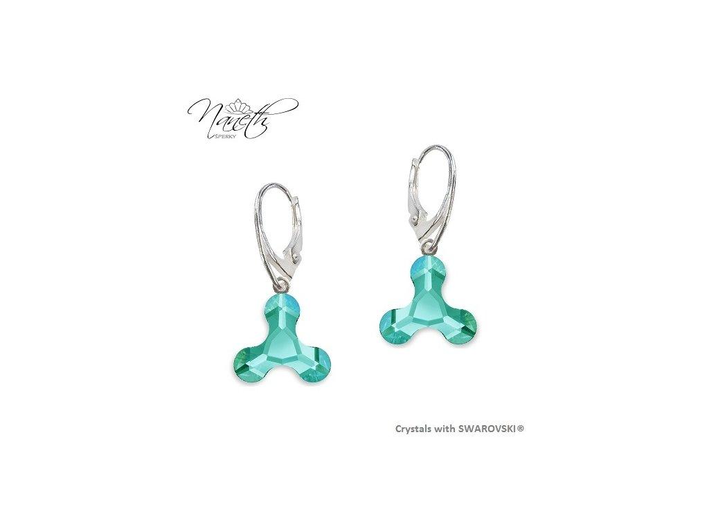 Náušnice NANETH s tyrkysovými kryštálmi MOLECULE Swarovski®Crystals Light Turquoise