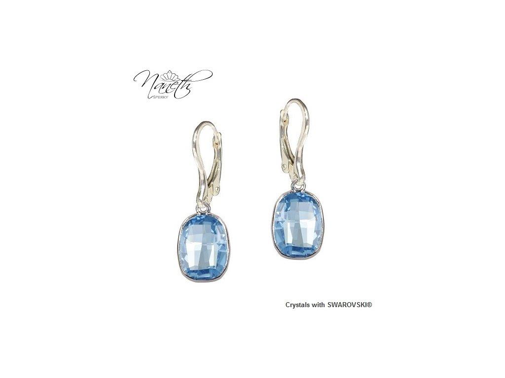 Náušnice Naneth s modrými kryštálmi Swarovski GRAPHIC Aquamarine