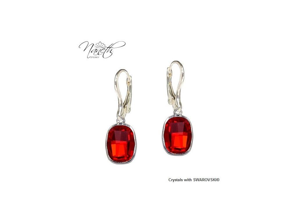 Náušnice Naneth s červenými kryštálmi Swarovski GRAPHIC Light Siam