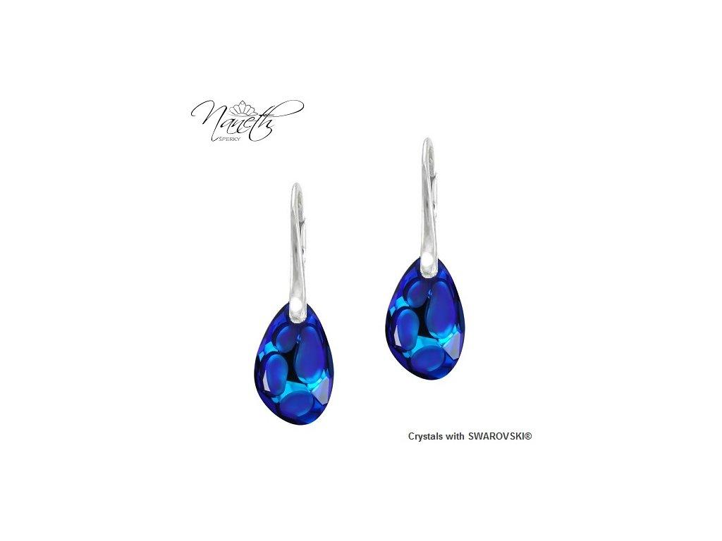 Náušnice Naneth s modrými kryštálmi RADIOLARIAN Swarovski Bermuda Blue