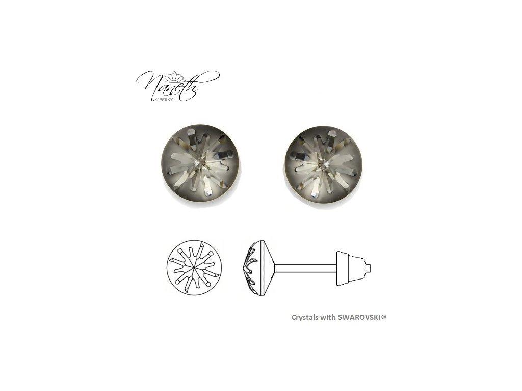 Náušnice Naneth Sea Urchin s kryštálmi Swarovski® Crystals Silver Night
