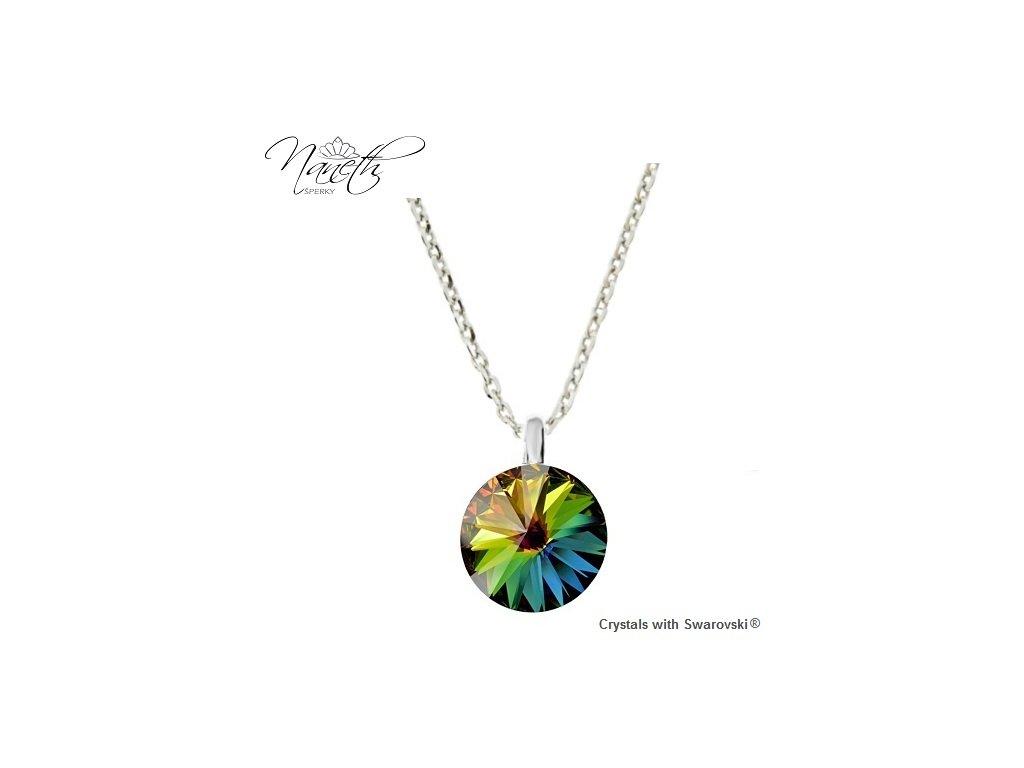 Strieborný náhrdelník Naneth so zeleno-farebným kryštálom Swarovski VM 12 mm