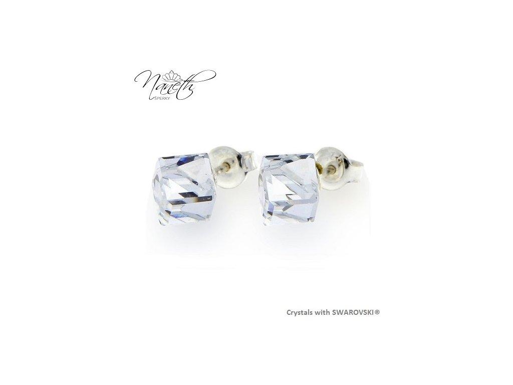 Náušnice Naneth s kryštálmi CUBE Swarovski®Crystals biele