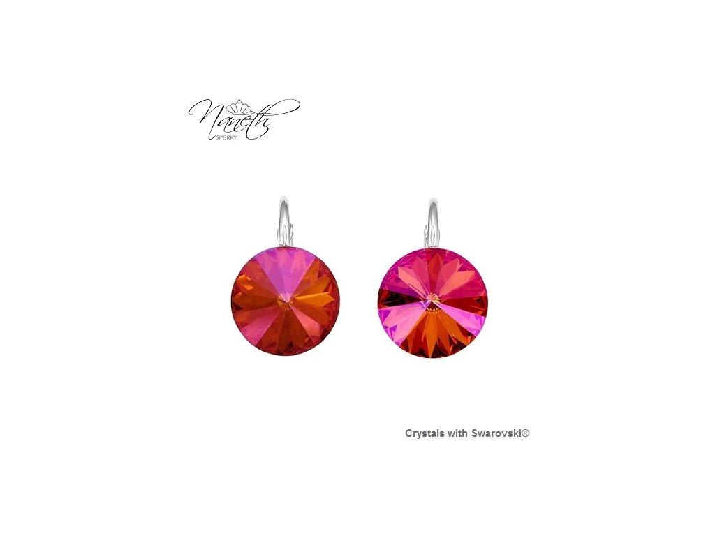 Strieborné náušnice Naneth Rivoli jantárovo-ružové s kryštálmi Swarovski Astral Pink 12 mm