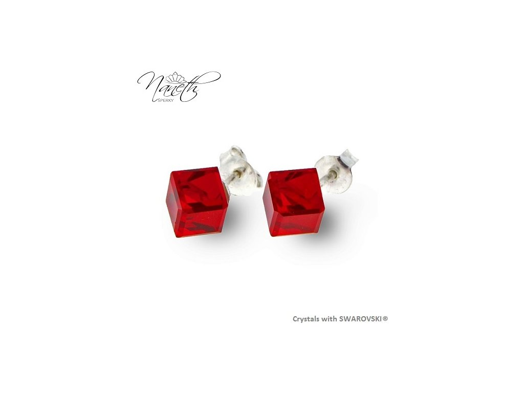 červené puzety kocky Swarovski® naáušnice
