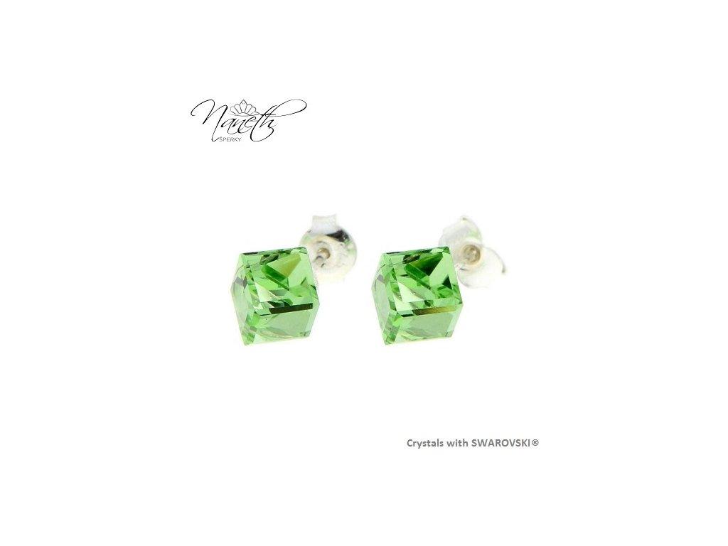 zelené puzetové náušnice kocky Swarovski® peridot