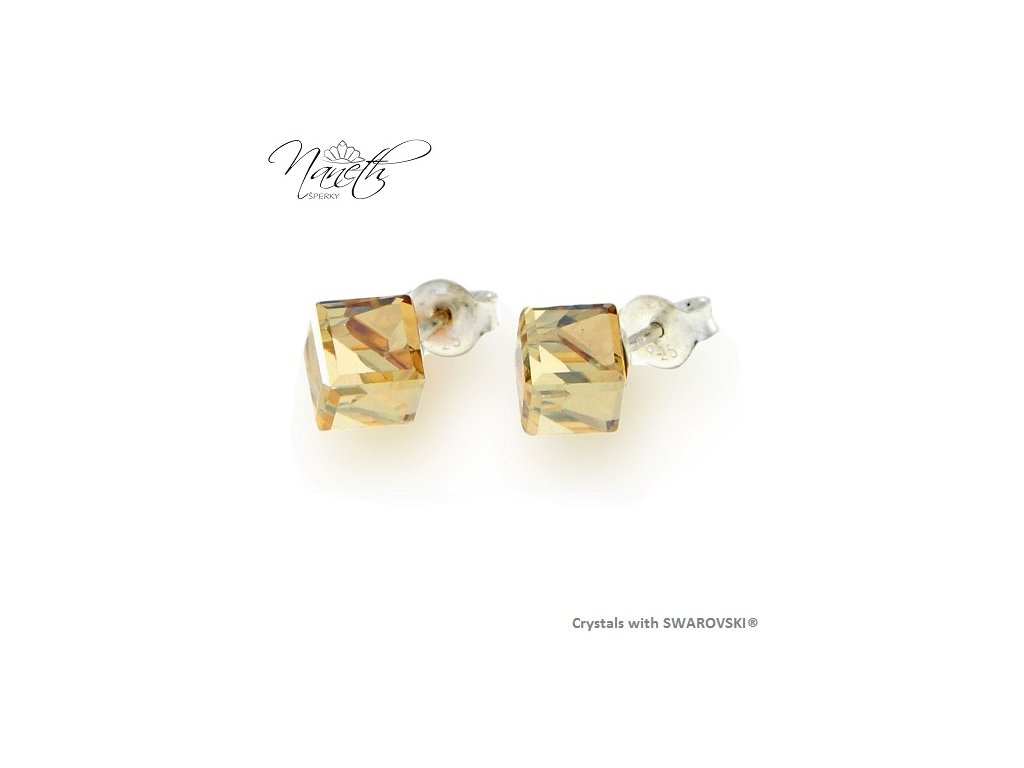 Náušnice Naneth s kryštálmi CUBE Swarovski®Crystals Golden Shadow