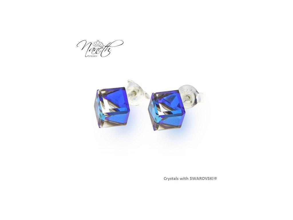 SWAROVSKI-nausnice-modre-kocky-strieborne-napichovacky-puzety-bermuda-blue