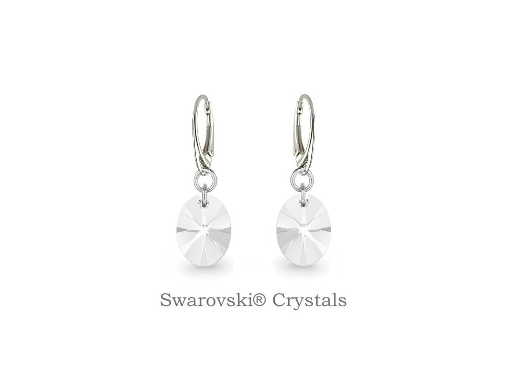 Náušnice s kryštálmi Swarovski® Oval Crystal 12 mm
