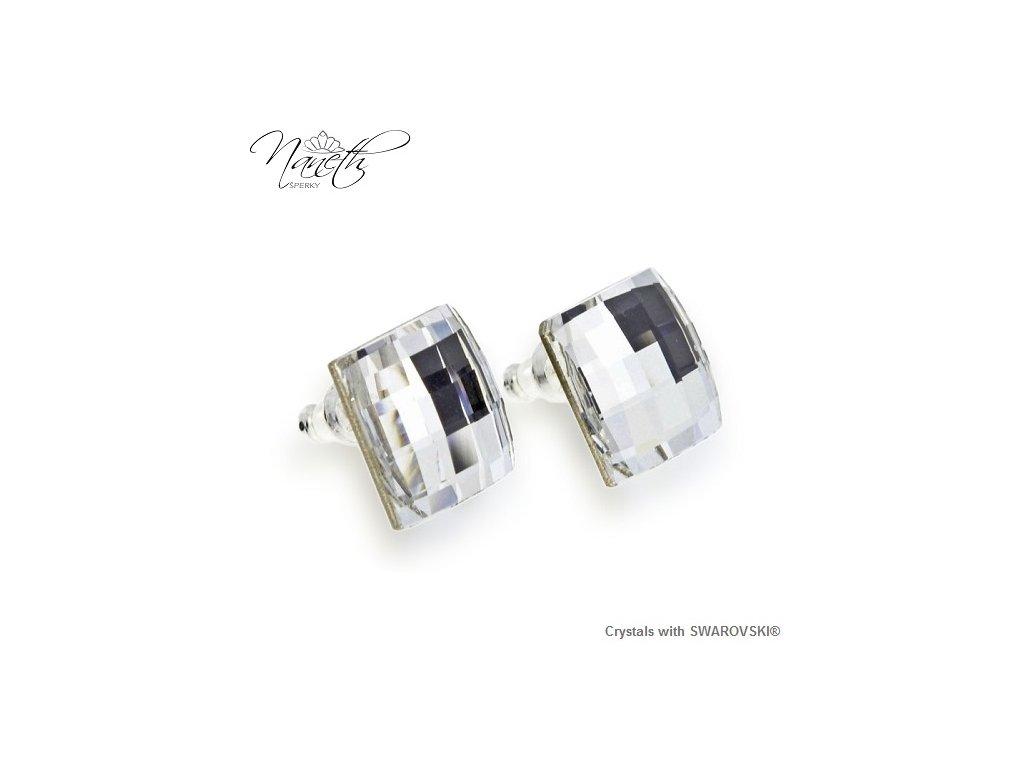 Biele náušnice Naneth s kryštálmi Chessboard Swarovski® Crystal