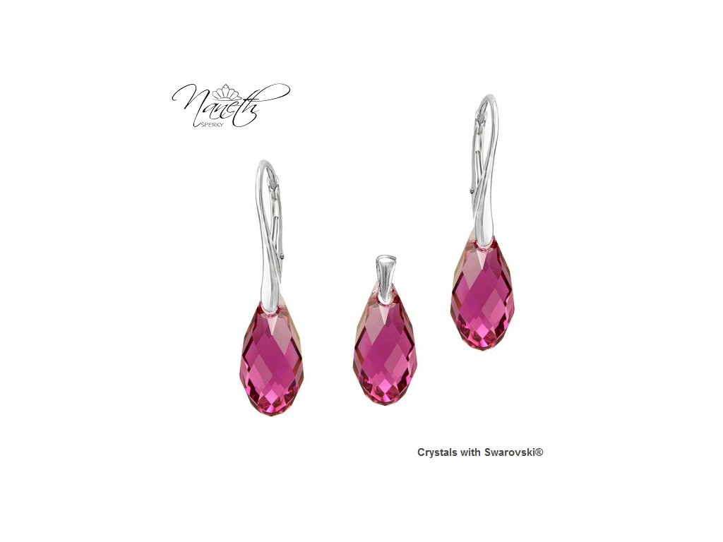 Set BRIOLETTE s kryštálmi Swarovski Elements Fuchsia 17 mm