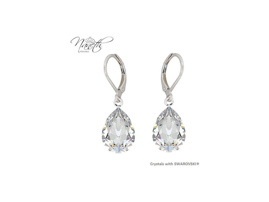 Náušnice Naneth s bielymi kryštálmi PEAR Swarovski®Crystals Crystal 14 mm