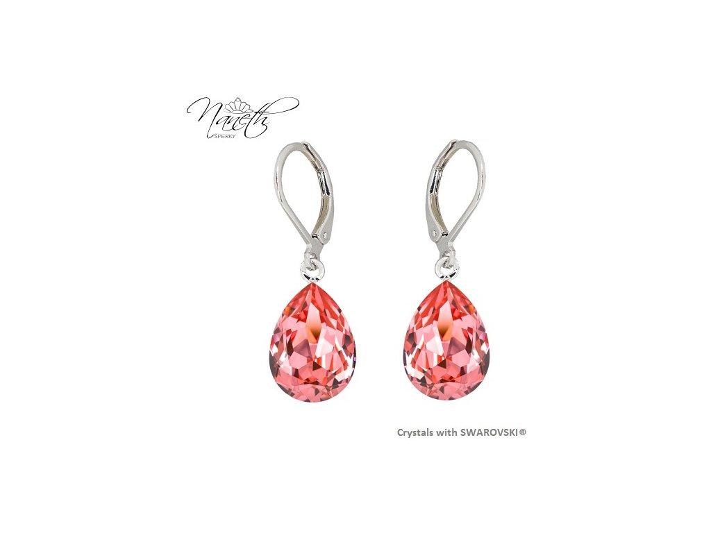 Náušnice Naneth s broskyňovými kryštálmi PEAR Swarovski®Crystals Rose Peach 14 mm