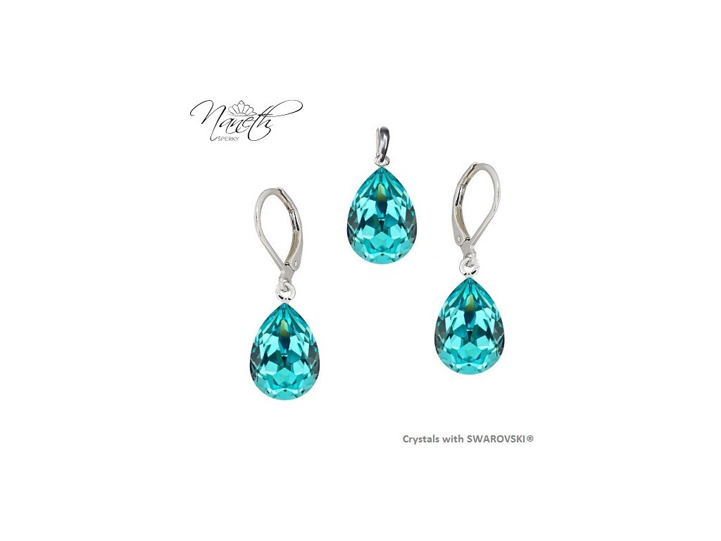 Súprava Naneth s tyrkysovými kryštálmi PEAR Swarovski®Crystals Light Turquoise 14 mm