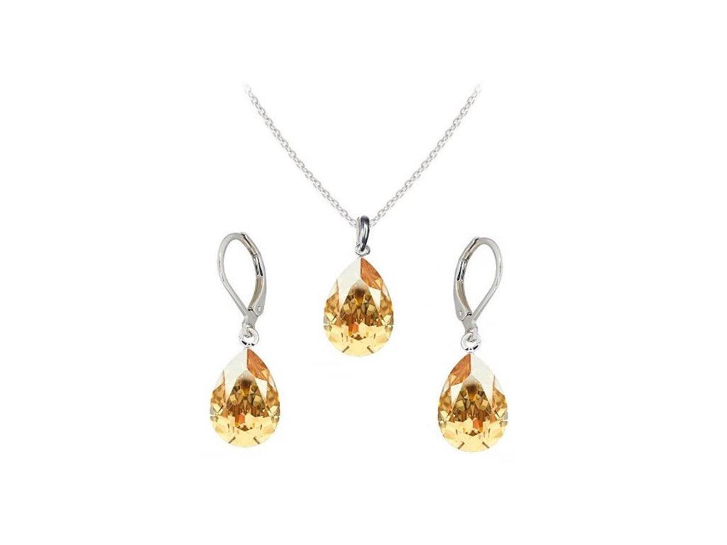 Súprava Naneth so zlatými kryštálmi PEAR Swarovski®Crystals Golden Shadow 14 mm