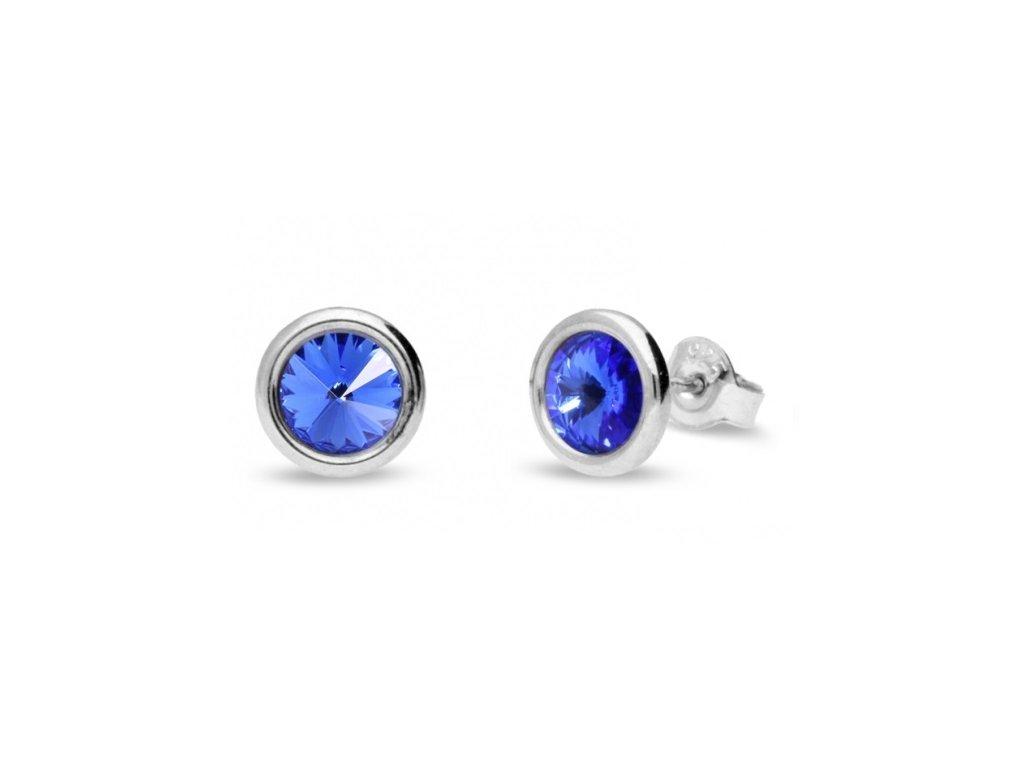 Puzetové náušnice s kryštálmi Swarovski®Crystals modré Sapphire
