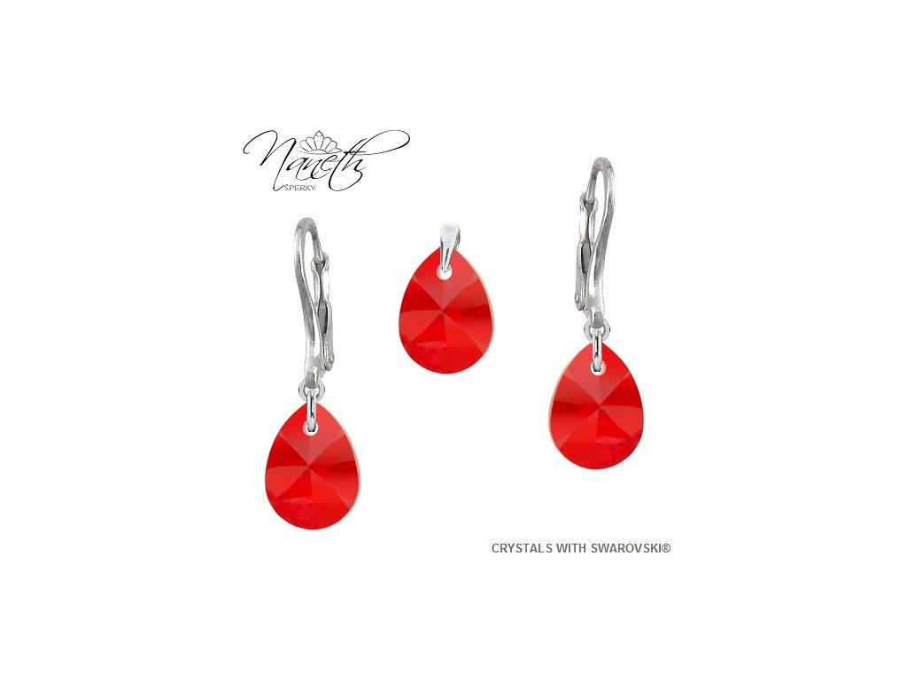 Strieborný set Naneth Mini Pear s kryštálmi Swarovski® Light Siam
