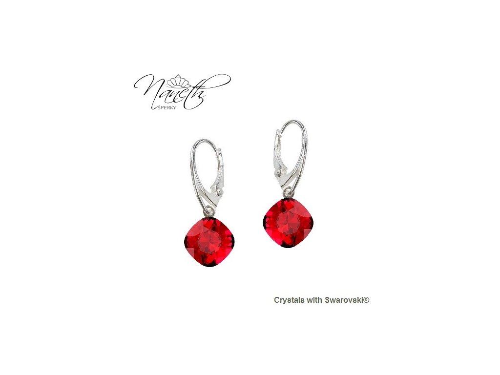 Náušnice Naneth s červenými kryštálmi Swarovski® SQUARE Scarlet
