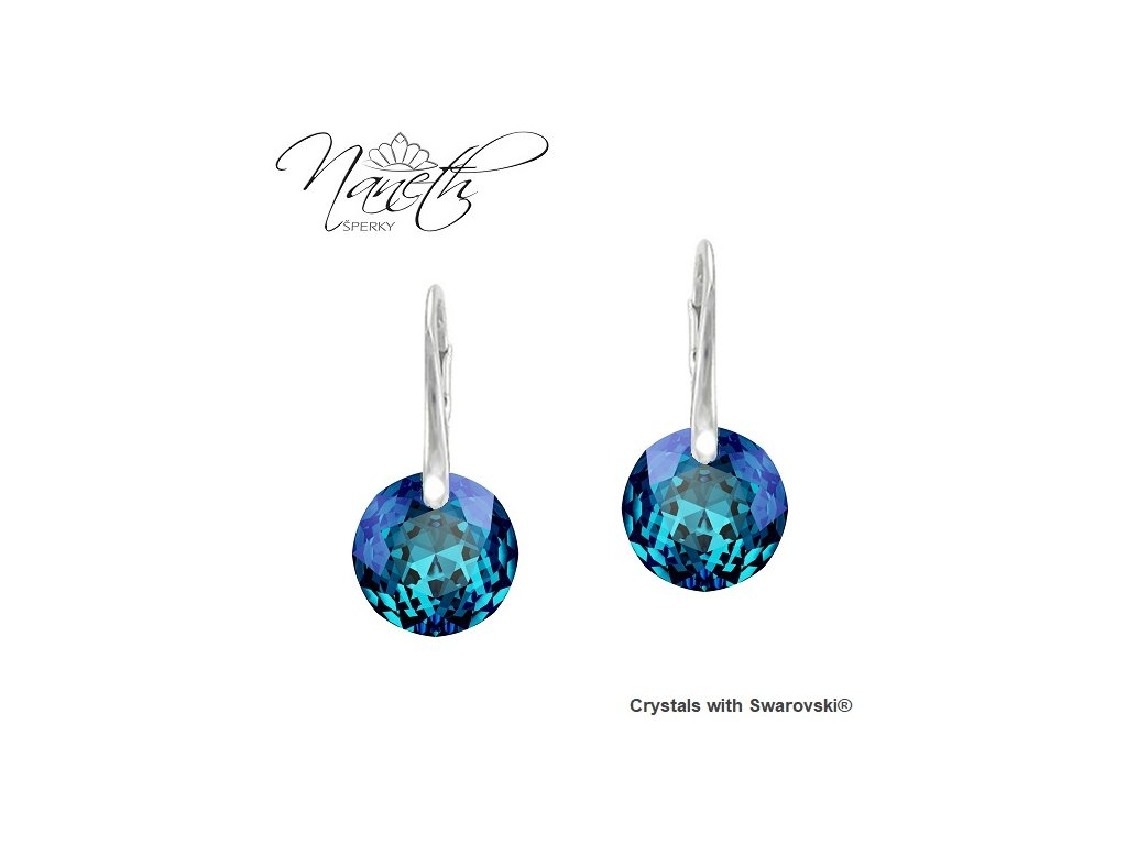 Náušnice Naneth Swarovski® Classic Cut modré Bermuda Blue