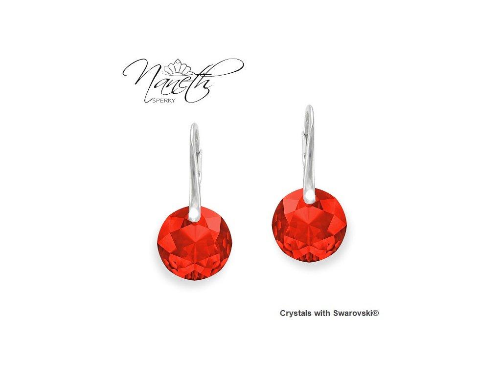 Náušnice Naneth Swarovski® Classic Cut červené Light Siam