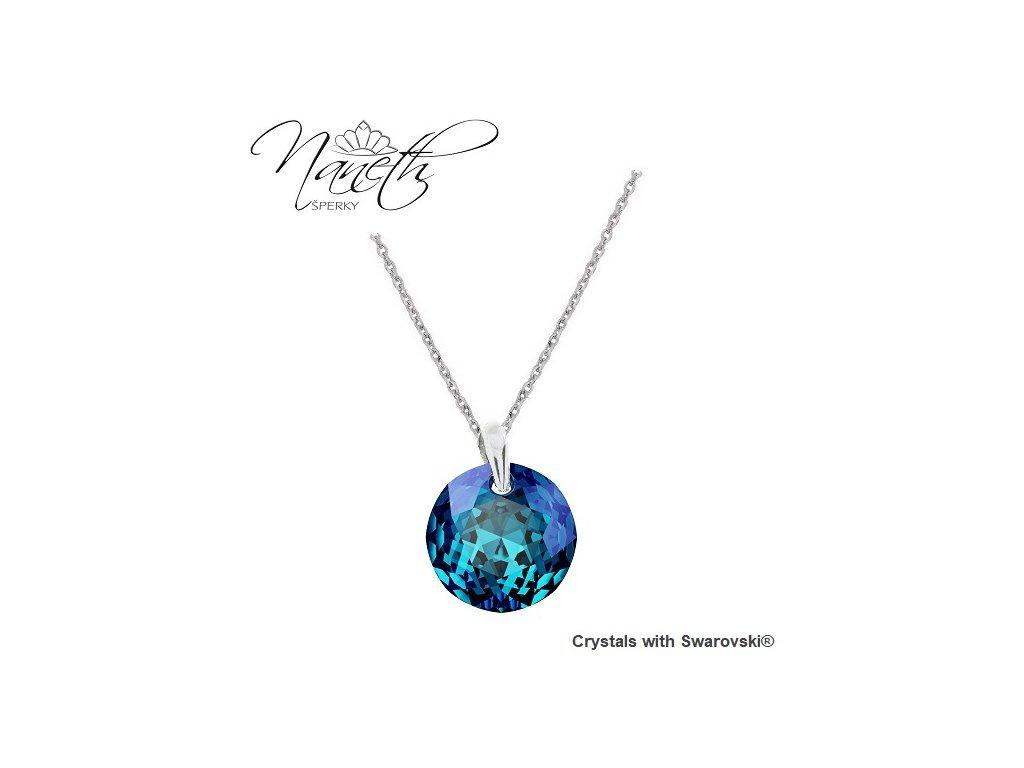 Náhrdelník Naneth Swarovski® Classic Cut modrý Bermuda Blue