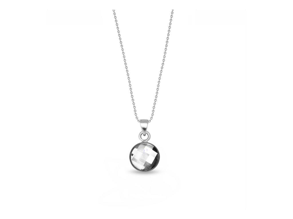 Okrúhly strieborný náhrdelník Spark Swarovski Damier biely Crystal
