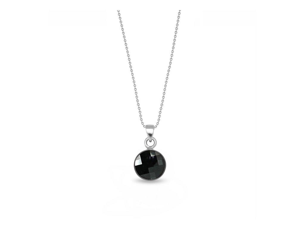 Okrúhly strieborný náhrdelník Spark Swarovski Damier čierny Jet