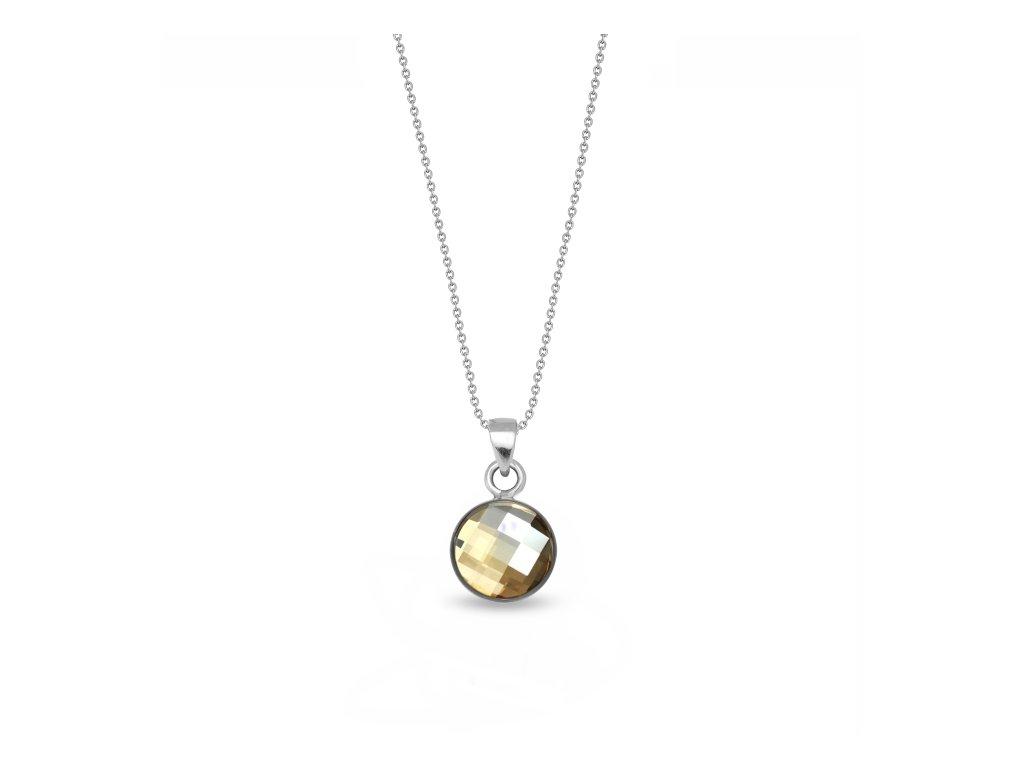 Okrúhly strieborný náhrdelník Spark Swarovski Damier zlatý Golden Shadow