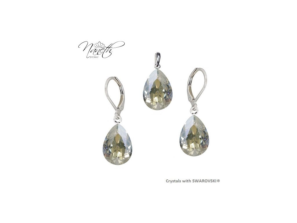 Súprava Naneth s kryštálmi PEAR Swarovski®Crystals Moonlight 14 mm