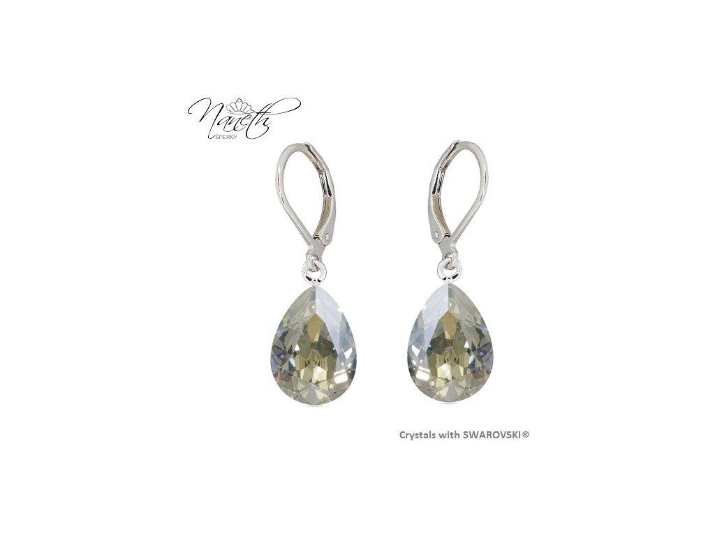 Náušnice Naneth s kryštálmi PEAR Swarovski®Crystals Moonlight 14 mm