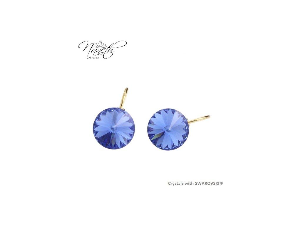 Pozlátené náušnice Rivoli s modrými kryštálmi Swarovski Sapphire