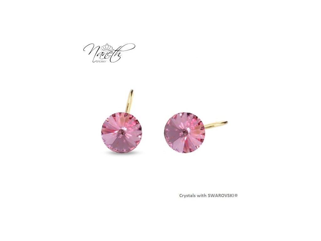 Pozlátené náušnice Rivoli s ružovými kryštálmi Swarovski Light Rose